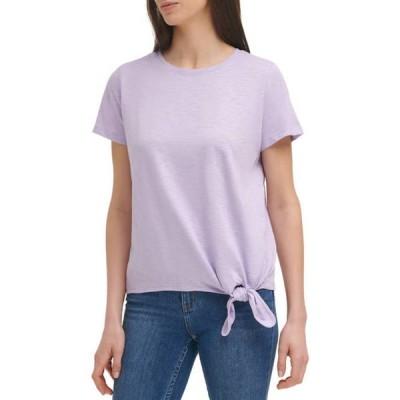 カルバンクライン レディース Tシャツ トップス Women's Short Sleeve Tie Front Slub Knit Top
