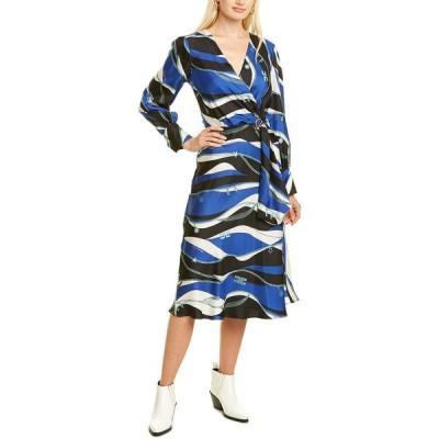 エリザベスフランキ ワンピース トップス レディース Elisabetta Franchi Buckle Silk Midi Dress black/cobalt
