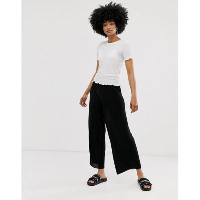 モンキ レディース カジュアルパンツ ボトムス Monki wide leg plisse pants in black