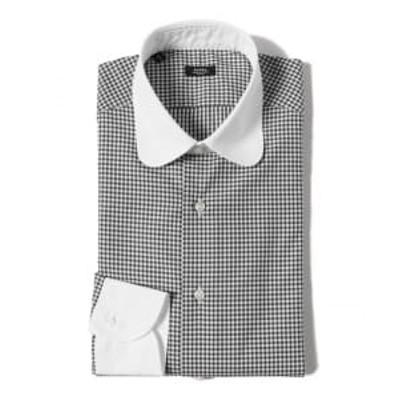 BARBA / 別注 ギンガムチェック クレリックラウンドカラーシャツ