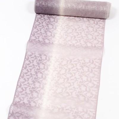 薄コート正絹オーガンジーシルクコート地 刺繍 紗コート地着尺 横段花柄/藤紫ぼかし オーガンジーコート レースコート 日本製