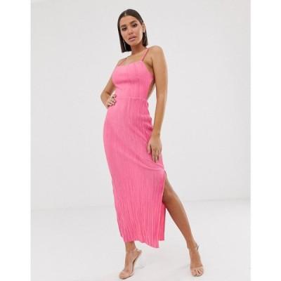 エイソス ASOS DESIGN レディース ワンピース ワンピース・ドレス open back maxi plisse sundress Hot pink