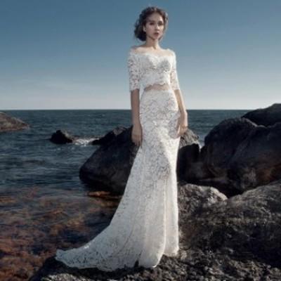 ウェディングドレス 二次会 花嫁ドレス 結婚式 ドレス パーティードレス マーメイド セパレート 大きいサイズ xl 袖あり おしゃれ 大人