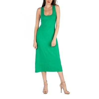 24セブンコンフォート ワンピース トップス レディース Scoop Neck Maxi Dress with Racerback Detail Green