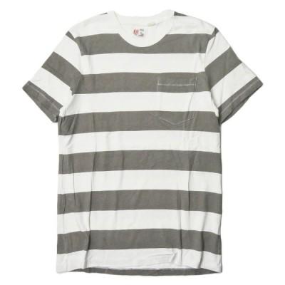 エムニーイ M.Nii アメリカ製 ボーダーポケットTシャツ S グレー/ホワイト 半袖 トップス