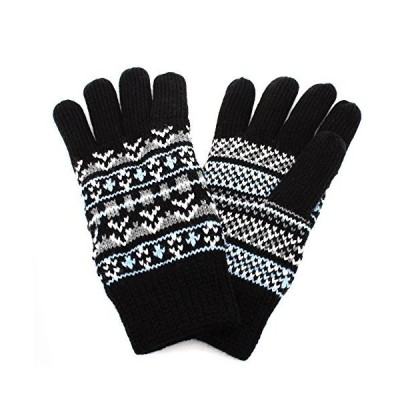 Aness (アネス) 手袋 フェアアイル柄ニット手袋 裏地フリース 保温性抜群 防寒 冷え対策 (フェアアイル柄xブラック)