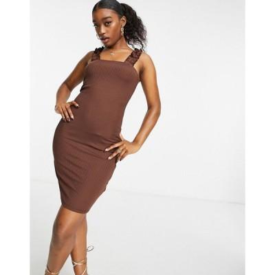 アイビーラベル ミディドレス レディース Ivy Revel rib dress with frill detail in brown  エイソス ASOS sale ブラウン 茶