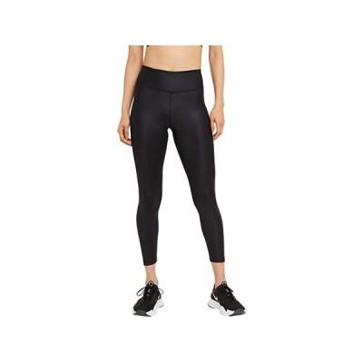 【倍倍ストア】(取寄)ナイキ ワン ミッドライズ 7/8 フォー レザー タイツ Nike One Mid-Rise 7/8 Faux Leather Tights Black/Smoke Grey 倍々ストア