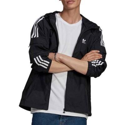 アディダス メンズ ジャケット・ブルゾン アウター adidas Men's 3-Stripes Full Zip Windbreaker