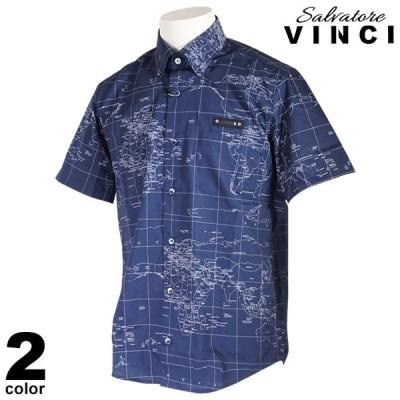 VINCI ヴィンチ 半袖 カジュアルシャツ メンズ 2021春夏 ボタンダウン 総柄 世界地図 ロゴ 11-2103-09