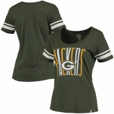 47 フォーティーセブン スポーツ用品  47 Brand Green Bay Packers Womens Green Halfback Scoop T-Shirt