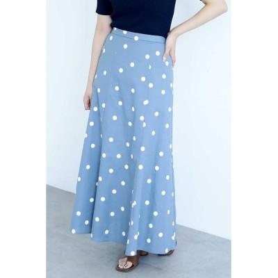 【フリーズマート】 ◆麻ドットフレアマキシスカート レディース ブルー×オフドット1 FR FREE'S MART
