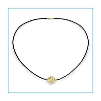 """新品14K Yellow Gold 12-12.5mm Golden South Sea Cultured Pearl Gold Rondels on Black Leather Necklace 18""""【並行輸入品】"""