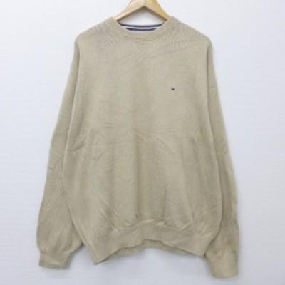 古着 長袖 ブランド セーター 90年代 90s トミーヒルフィガー TOMMY HILFIGER 大きいサイズ コットン クルーネック ベージュ カーキ XLサ