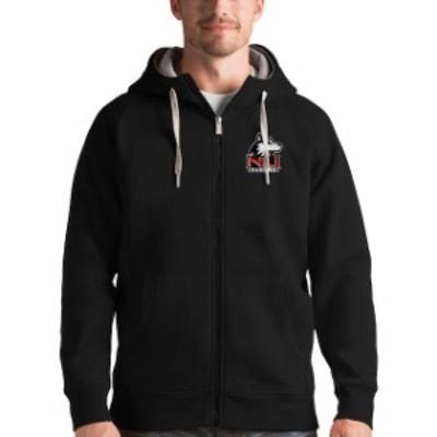 Antigua アンティグア スポーツ用品  Antigua Northern Illinois Huskies Black Victory Full-Zip Hoodie