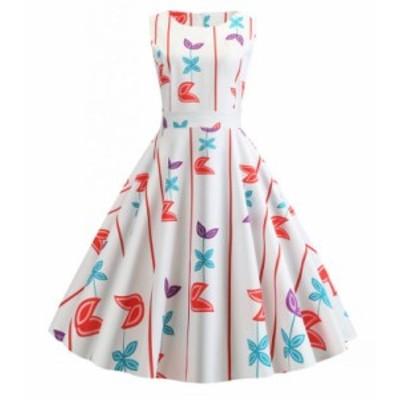 ワンピース スイングワンピース 花柄 ノースリーブ 夏快適 ドレス お呼ばれ 結婚式 Aライン レトロ お洒落