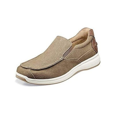 Florsheim Great Lakes Canvas Moc Toe Slip-On Sand Canvas W/Brown Crazy Hors