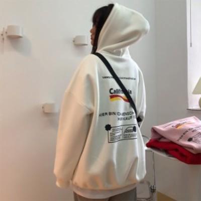 レディース トップス 春 秋 冬 パーカー 長袖 ゆったり ロゴ フード パーカー シンプル スポーティ 可愛い カジュアル お出かけ デート