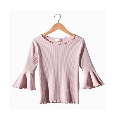 カットソー 半袖 可愛い レディース ピンク トップス かわいい フリル Tシャツ