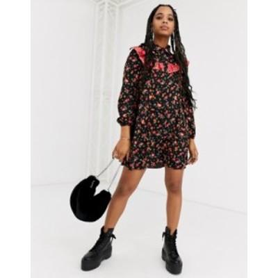 エイソス レディース ワンピース トップス ASOS DESIGN Long sleeve shirt smock dress in mixed print Floral print