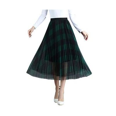 ストライプ柄 シアープリーツスカート Aライン 3層 チュール ロングスカート 透け感 フレア ビンテージ レディ