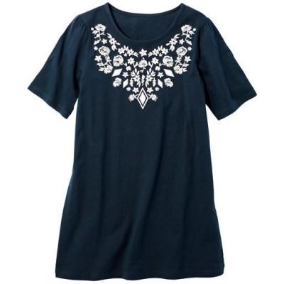 【ぽっちゃりさんサイズ】ロング丈プリントTシャツ(半袖)(綿100%)/ネイビーC/LL