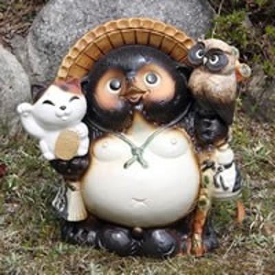 ふくろう 招き猫 たぬき 置物 名入れ 11号 縁起物のやきも信楽焼 おしゃれ 和風 陶器 【手作り】