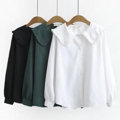 送料無料 フリル襟 シンプル ブラウス シャツ 長袖 大きいサイズ レディース 着痩せ ブラック