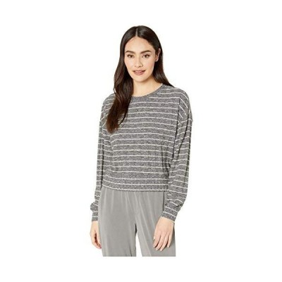 Splendid Women's Reed Long Sleeve Top Sweater, Heather Charcoal Oat Stripe,