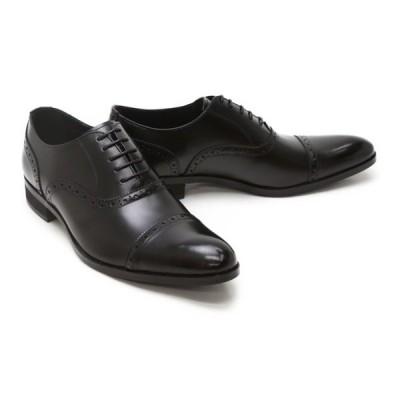 ビジネスシューズ 本革 ストレートチップ キャップトゥ メンズ 革靴 本革 クインクラシコ ドレスシューズ qc3103bk ブラック(黒) パンチド キャップトゥ