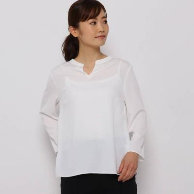 ソフール Sofuol サテンクレープスキッパーシャツ (ホワイト)