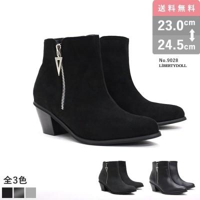 ショートブーツ レディース サイドジップ 太ヒール 歩きやすい 6cmヒール ブーティー 全3色 23.0cm~24.5cm 9028 アーモンドトゥ ブーツ 疲れない 黒