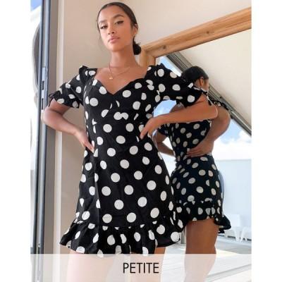 ミスガイデッド ミディドレス レディース Missguided Petite mini dress with ruffle hem in polka dot エイソス ASOS sale ブラック 黒