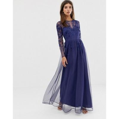 エイソス レディース ワンピース トップス ASOS DESIGN long sleeve maxi dress in embroidered mesh