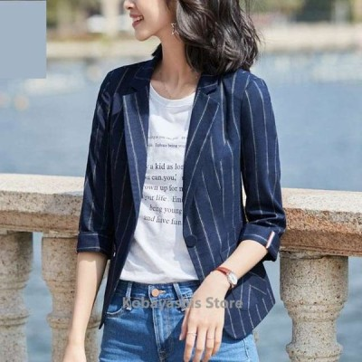 ストライプテーラードジャケットレディース7分袖夏サマージャケット白黒ジャケット細身着痩せ通勤OLスーツジャケット