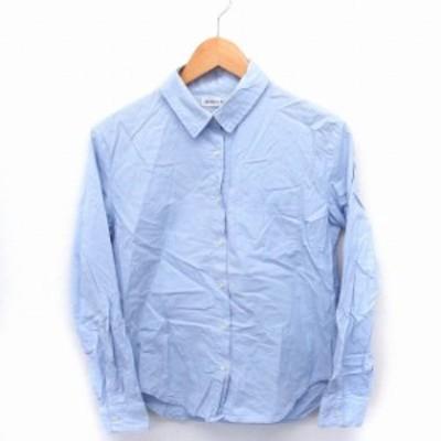 【中古】ブラウニー BROWNY シャツ ブラウス 長袖 胸ポケット シンプル コットン 綿 F ライトブルー /FT15 レディース