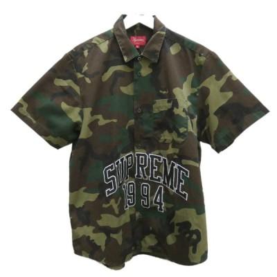 SUPREME Arc Logo Ss Work Shirt カモフラ柄半袖シャツ オリーブ サイズ:M (堅田店) 210529