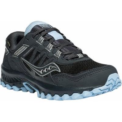 サッカニー レディース スニーカー シューズ Women's Saucony Versafoam Excursion TR13 GTX Running Sneaker Black/Blue Trail Specific