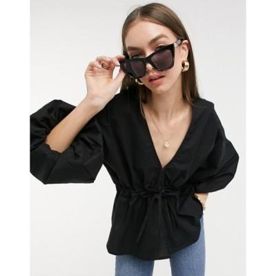 エイソス レディース シャツ トップス ASOS DESIGN V-neck cotton top with tie waist in black