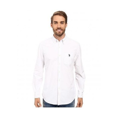 U.S. POLO ASSN. USポロ メンズ 男性用 ファッション ボタンシャツ Long Sleeve Classic Fit Solid Oxford Cloth Button Down Sport Shirt - Optic White