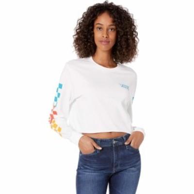 ヴァンズ Vans レディース ベアトップ・チューブトップ・クロップド Tシャツ トップス Downpour Long Sleeve Crop Tee White