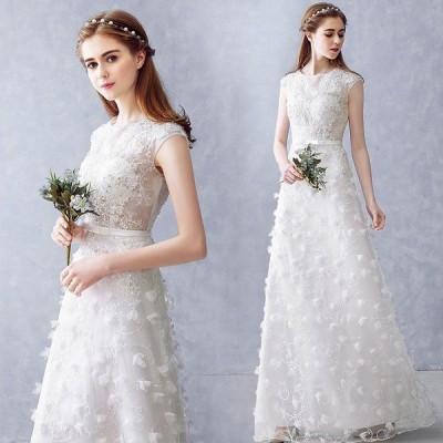 ウエディングドレス aライン 白 安い 結婚式 ロングドレス 花嫁 二次会 パーティードレス ウェディングドレス 演奏会 フォーマルドレス 披露宴 wedding dress
