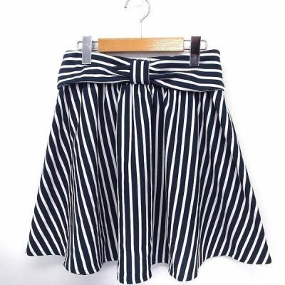 【中古】CHAIN REACTION スカート リボン ストライプ フレア ミニ M ネイビー 紺 ホワイト 白 /FT32 レディース 【ベクトル 古着】