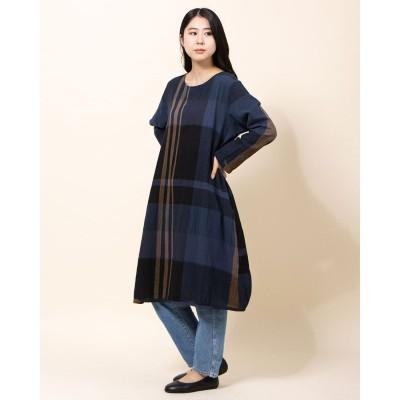 カンカン KANKAN 綿麻チェックサイドギャザードレス (ブラック)