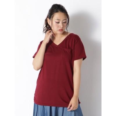 【大きいサイズ】【L-5L】裾ギャザー美ラインVネックTシャツ 大きいサイズ トップス・チュニック レディース