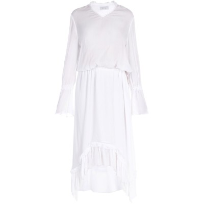 HIRONAĒ ロングワンピース&ドレス ホワイト L レーヨン 100% ロングワンピース&ドレス