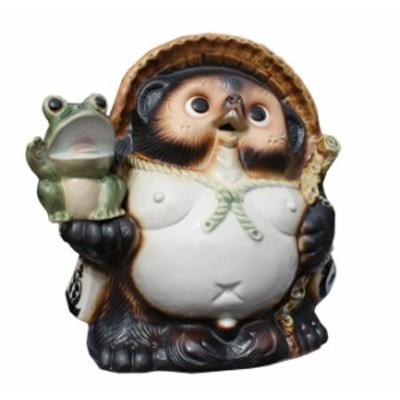 かえる持ち福々狸9号 信楽焼 たぬき 陶器 狸 置物 タヌキ 彩り屋