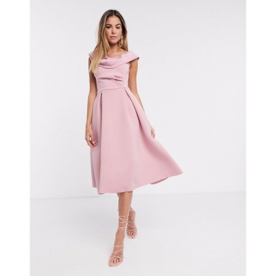 エイソス レディース ワンピース トップス ASOS DESIGN drape fallen shoulder midi skater prom dress in rose Rose