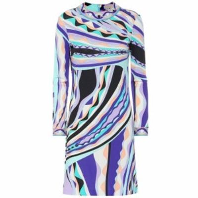 エミリオ プッチ Emilio Pucci レディース ワンピース ワンピース・ドレス Printed silk-blend dress Smeraldo/Viola