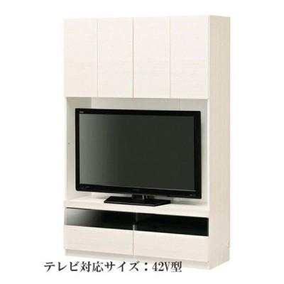 壁面テレビボード/テレビ台 【ホワイト】 幅120cm 日本製 引き出し付き AV機器収納可 組立式 『ポルターレ』ds-2318025 送料無料